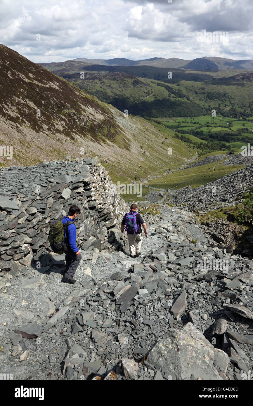 Walkers and the View Across Borrowdale Towards Helvellyn from the Disused Rigghead Quarries Tongue Gill High Spy - Stock Image