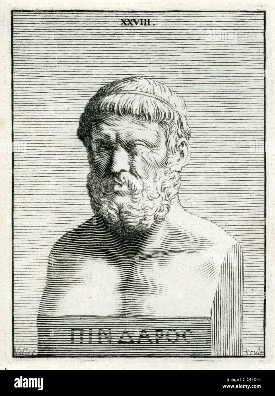 Classical portrait of Homer the author of the Iliad and the Odyssey, and is revered as the greatest ancient Greek - Stock Image