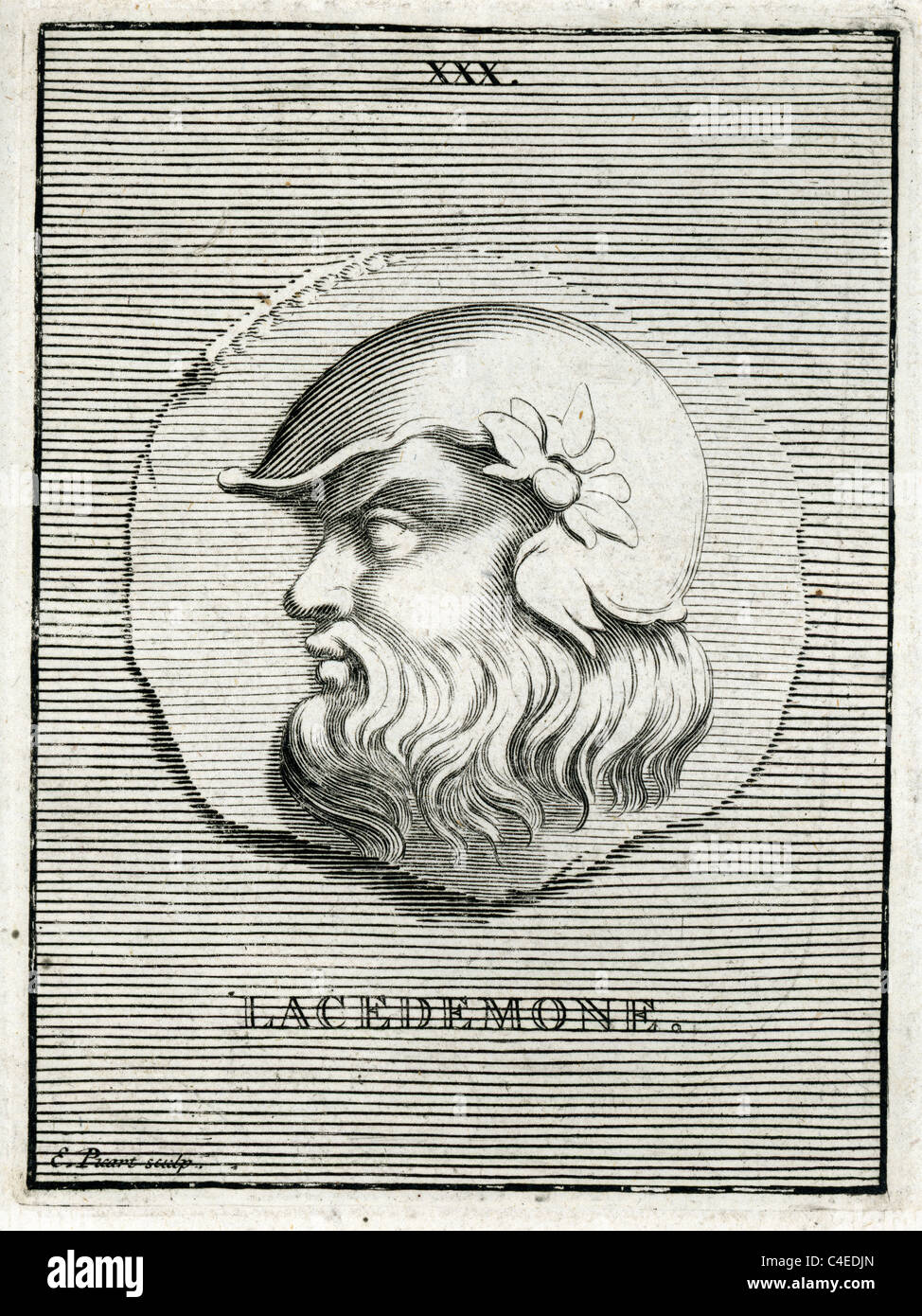 Classical portrait of Lacedemone in Greek mythology son of Zeus and the Pleaid Taygete and a Mythical King of Sparta. - Stock Image