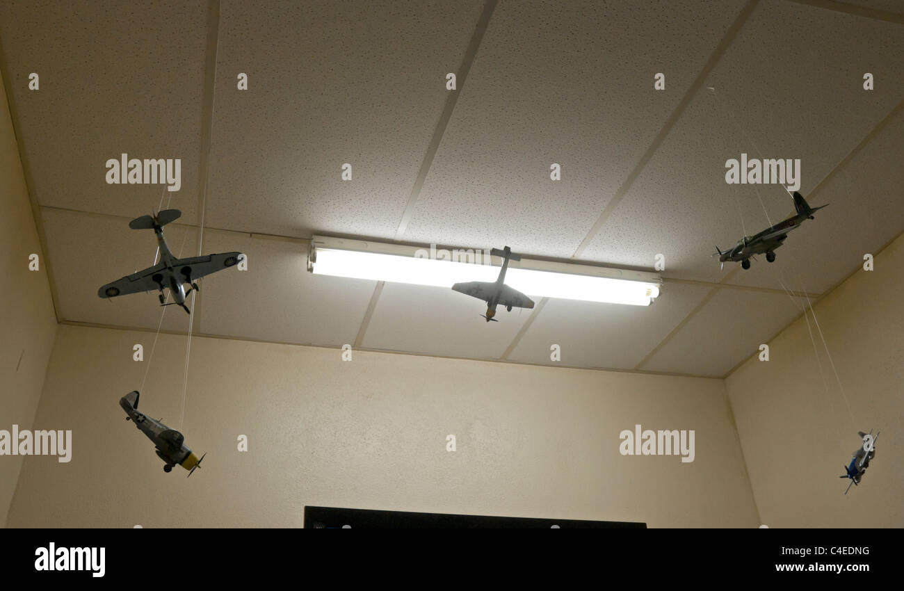 Florida Panhandle Carrabelle.Models of military airplanes hang from the ceiling at Camp Gordon Johnston World War - Stock Image