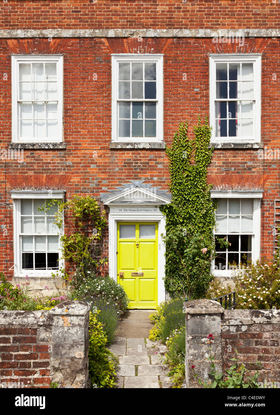 Georgian town house, The Hungerford Chantry, Cathedral Close, Salisbury, Wiltshire, England UK - Stock Image
