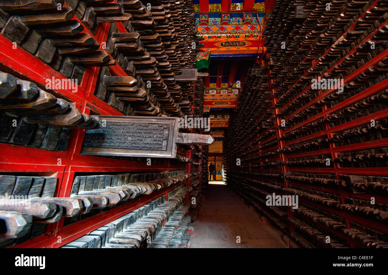 The library of carved wooden printing blocks with the collection of sutras at Dege Scripture Printing House, Sichuan, - Stock Image