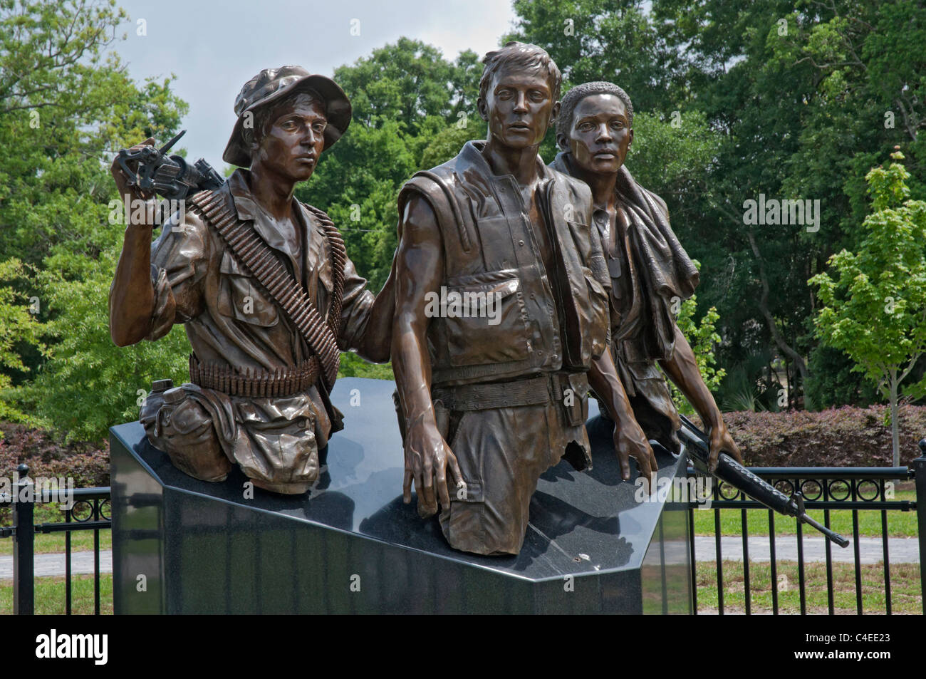 Florida Panhandle Apalachicola Florida.  Vietnam Veterans Memorial Plaza is a detail cast of the Vietnam Memorial - Stock Image