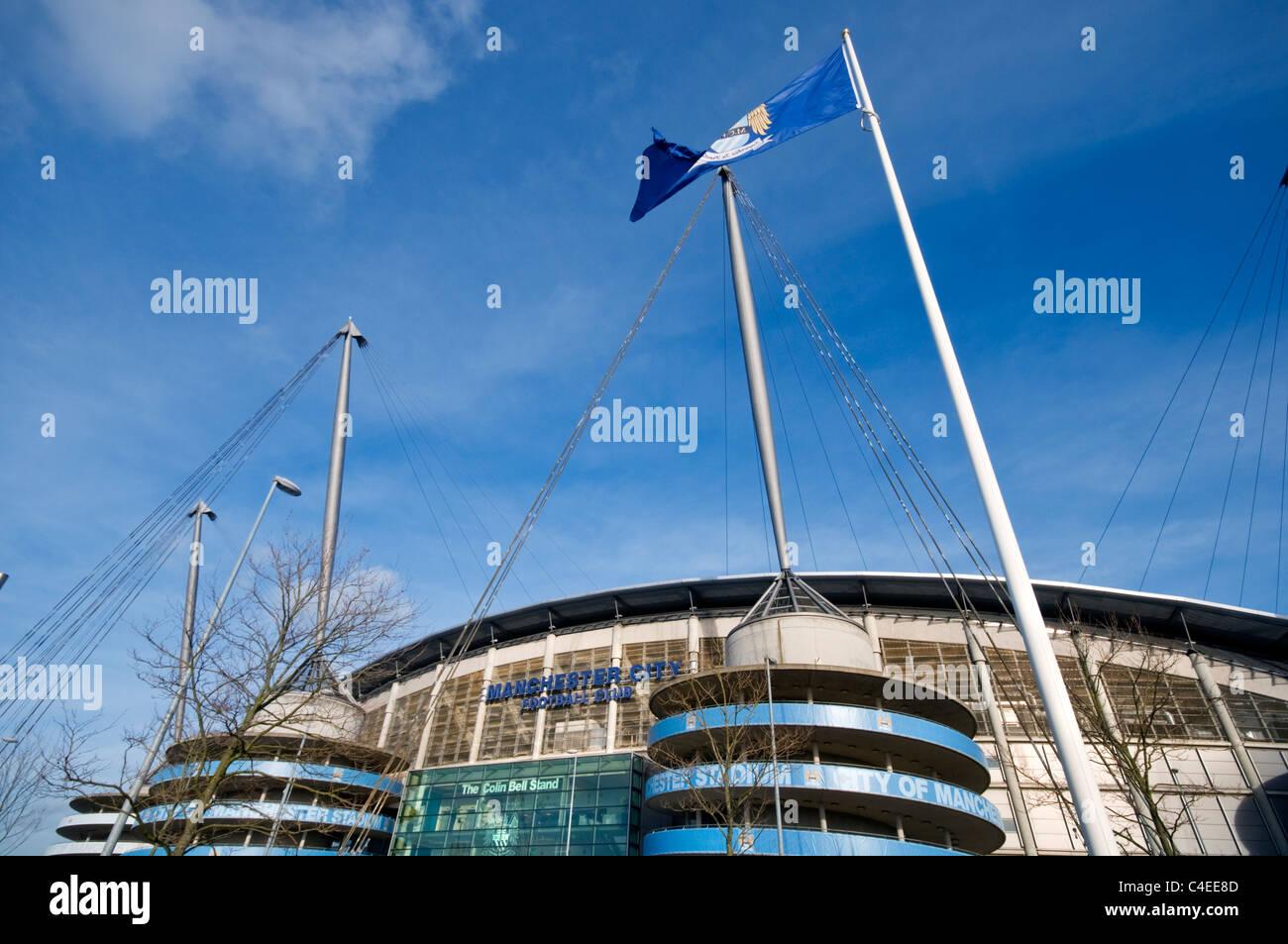 Manchester City's Etihad football stadium in England Stock Photo