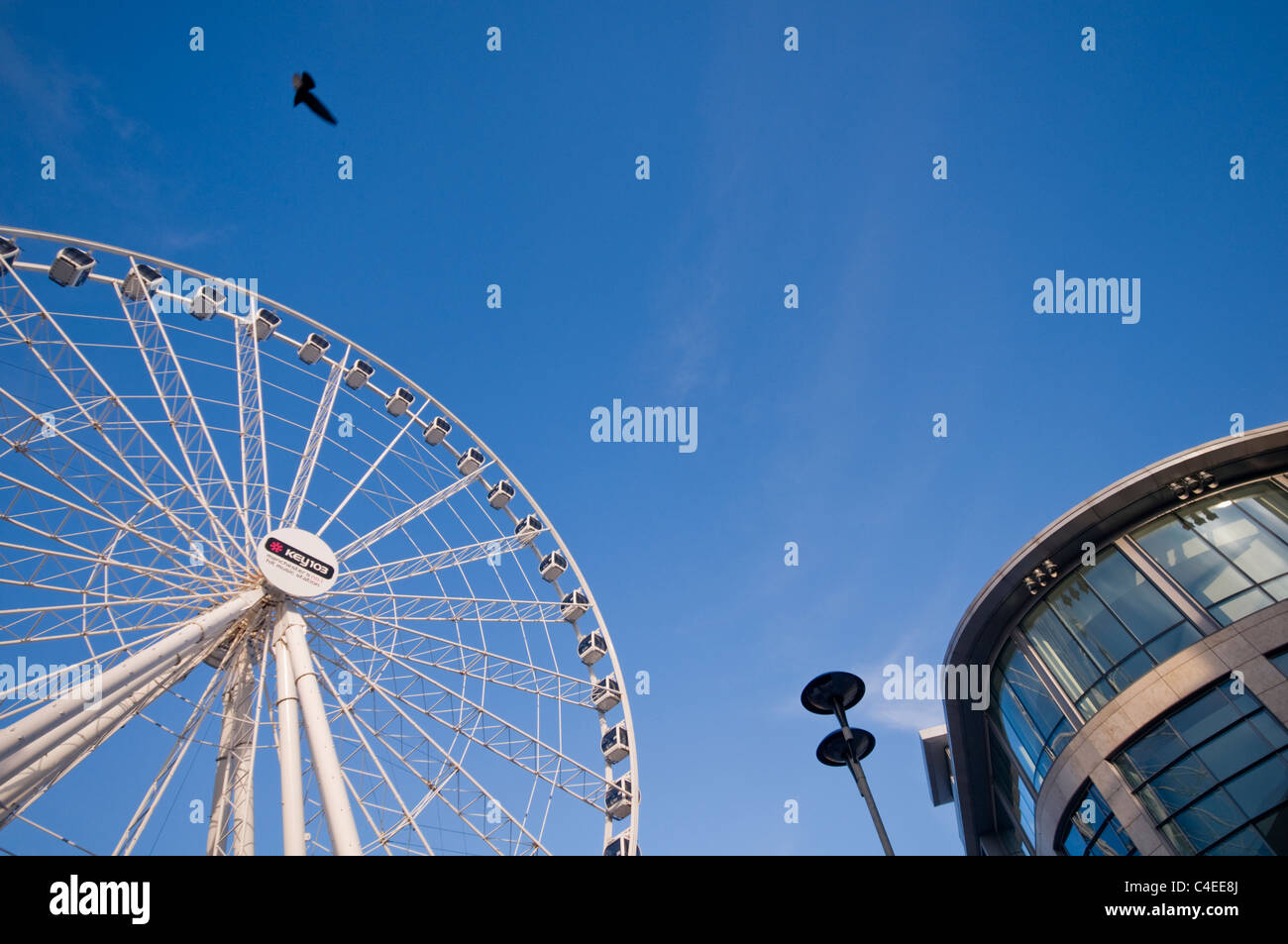 The Manchester Wheel tourist attraction in Exchange Square, Manchester city center, England - Stock Image