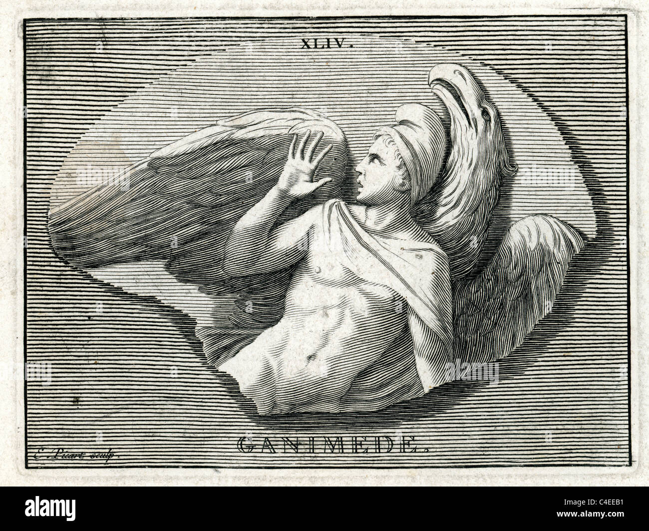 Classical portrait of Ganymede. In Greek mythology, Ganymede, or Ganymedes, is a divine hero whose homeland was - Stock Image
