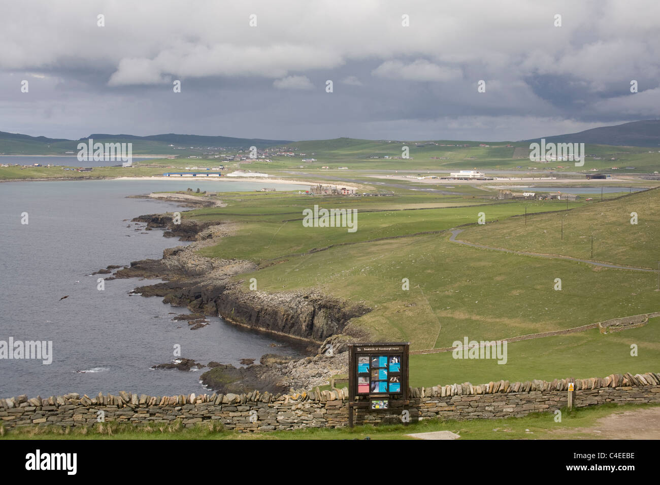 Sumburgh Head Shetland Islands Scotland View across the airport and the south mainland - Stock Image
