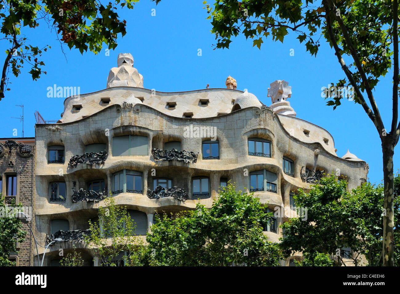 The famous Casa Mila, build in 1910 by architect Antoni Gaudi, located on Passeig de Gracia, Barcelona, Spain. - Stock Image