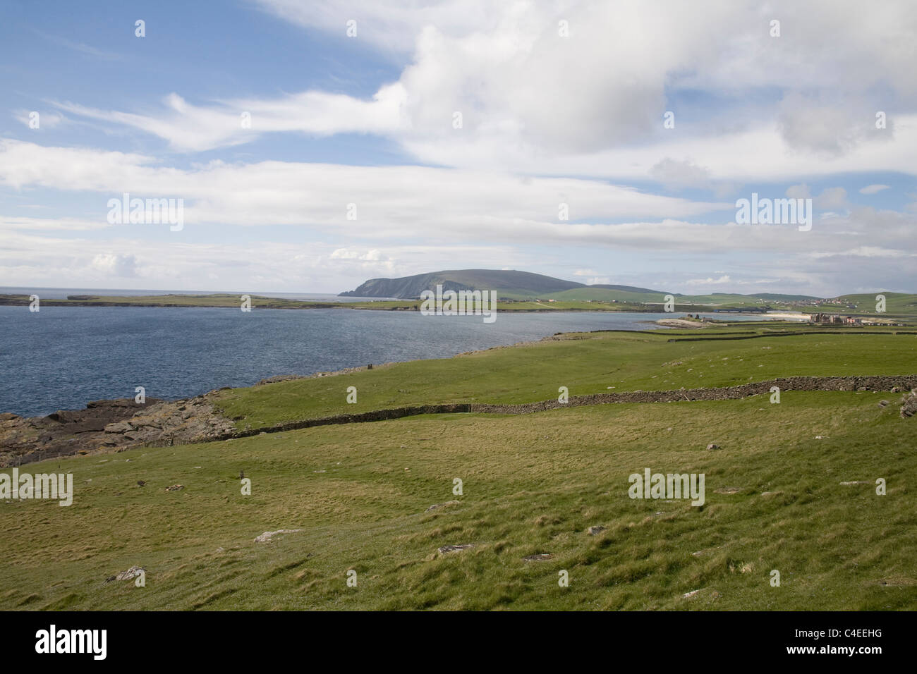 Shetland Islands Scotland Panoramic view of the Southern mainland looking across to Sumburgh Hotel a former laird's - Stock Image