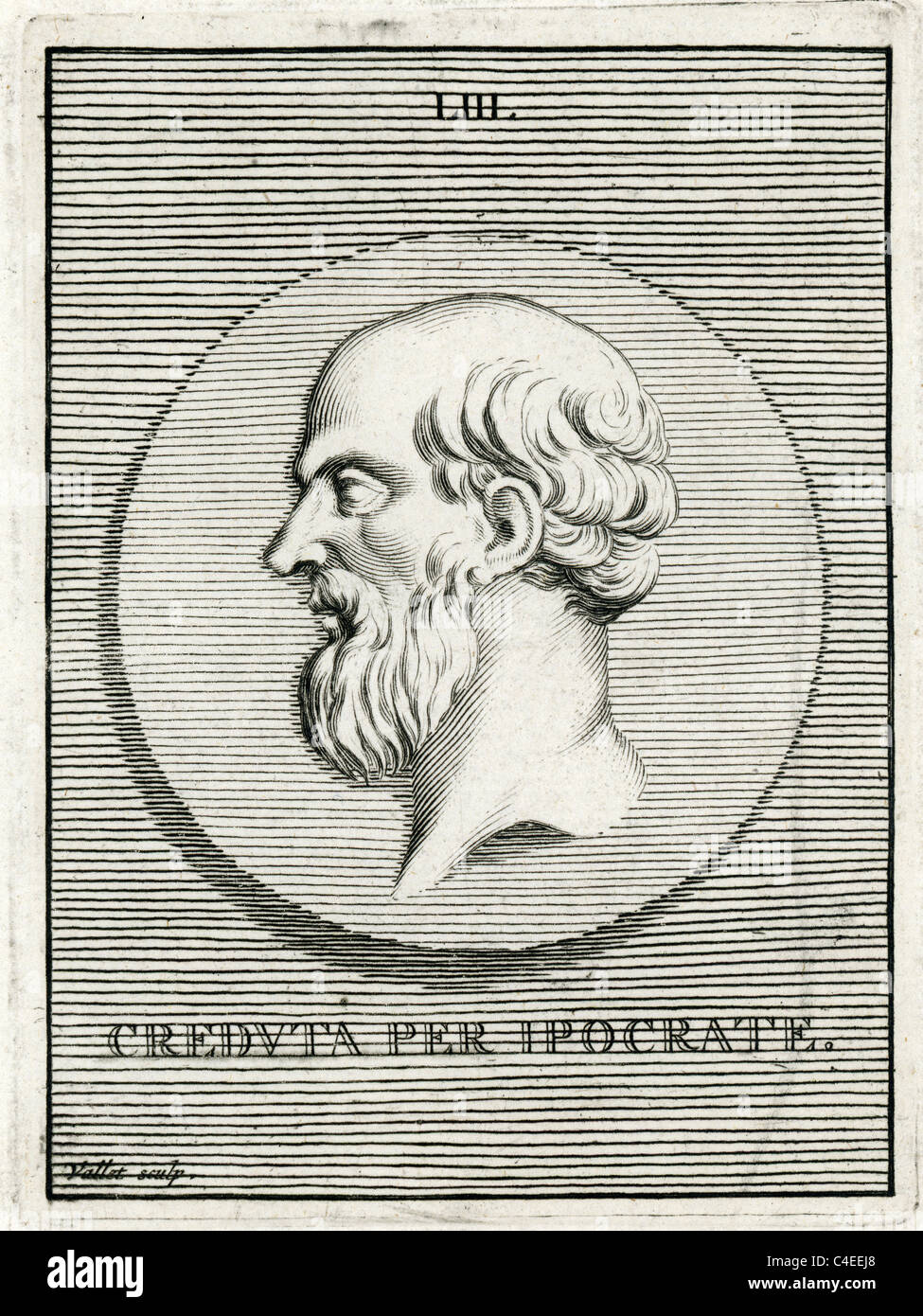 Classical portrait of Hippocrates of Cos or Hippokrates of Kos 460 BC to ca. 370 BC  an ancient Greek physician - Stock Image