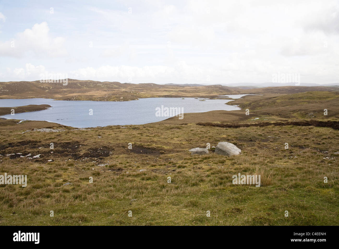 Shetland Islands Scotland May The west mainland is mainly moorland with rough grazing for sheep and signs of peat Stock Photo
