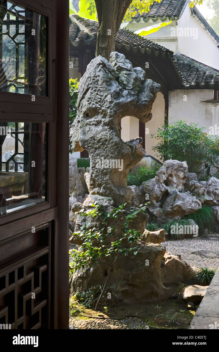 Scholar's rock at The Couple's Garden (Ou Yuan), Suzhou, China - Stock Image