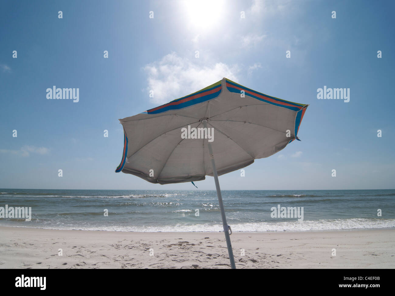 Gulf beaches along Florida's Panhandle at St. Joseph Peninsula State Park. Beach umbrella Stock Photo