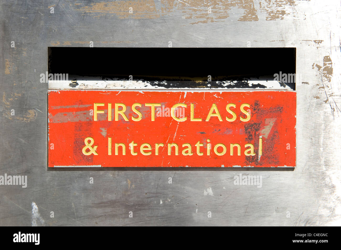 A first class and international post office post box. - Stock Image