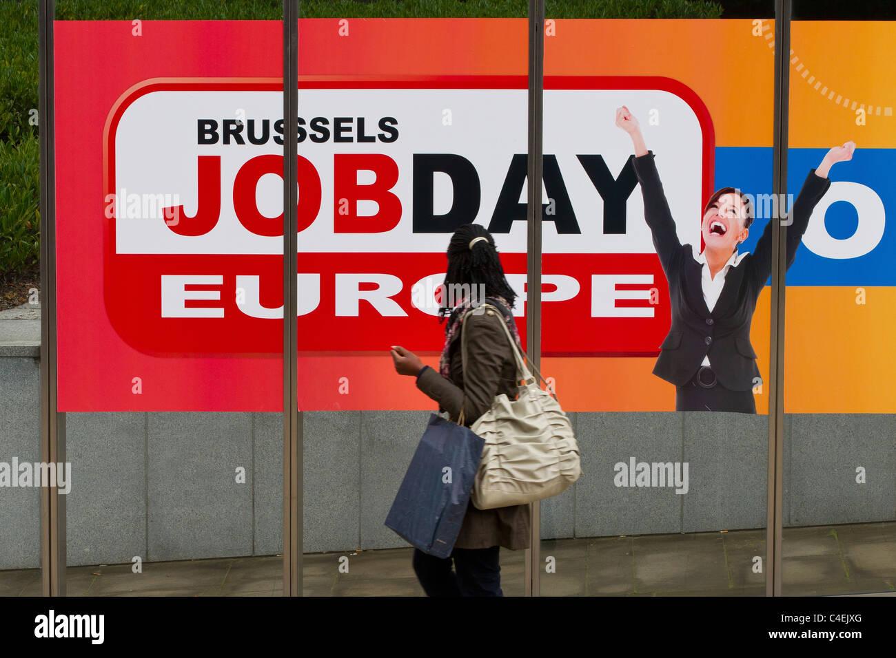 jobday publicity poster advertisement banner brussels belgium - Stock Image