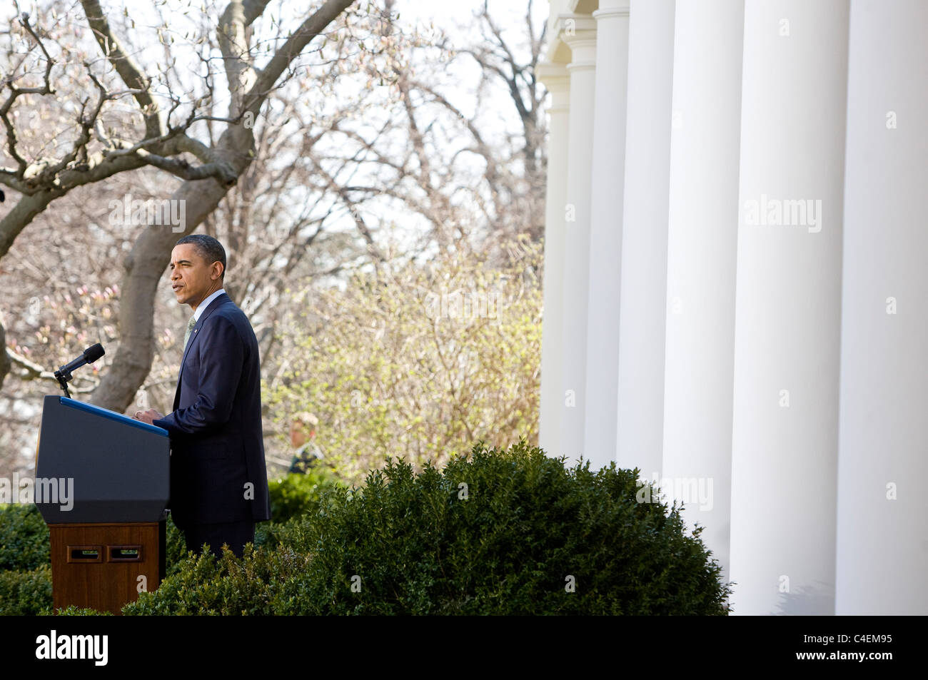 President Barack Obama delivers remarks in the Rose Garden of the White House. Stock Photo