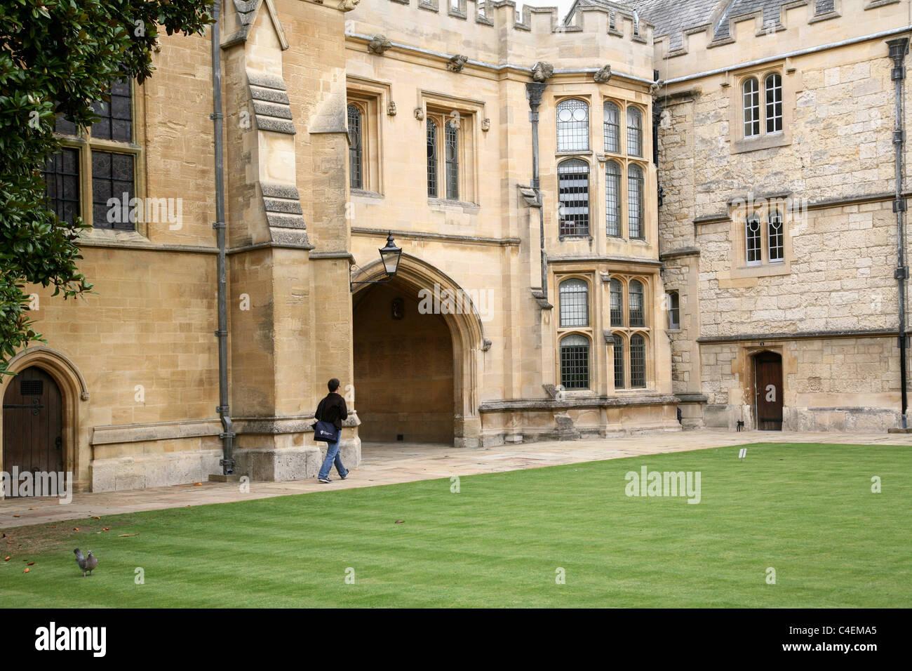 Oxford University, Merton College Fellows' Quad - Stock Image