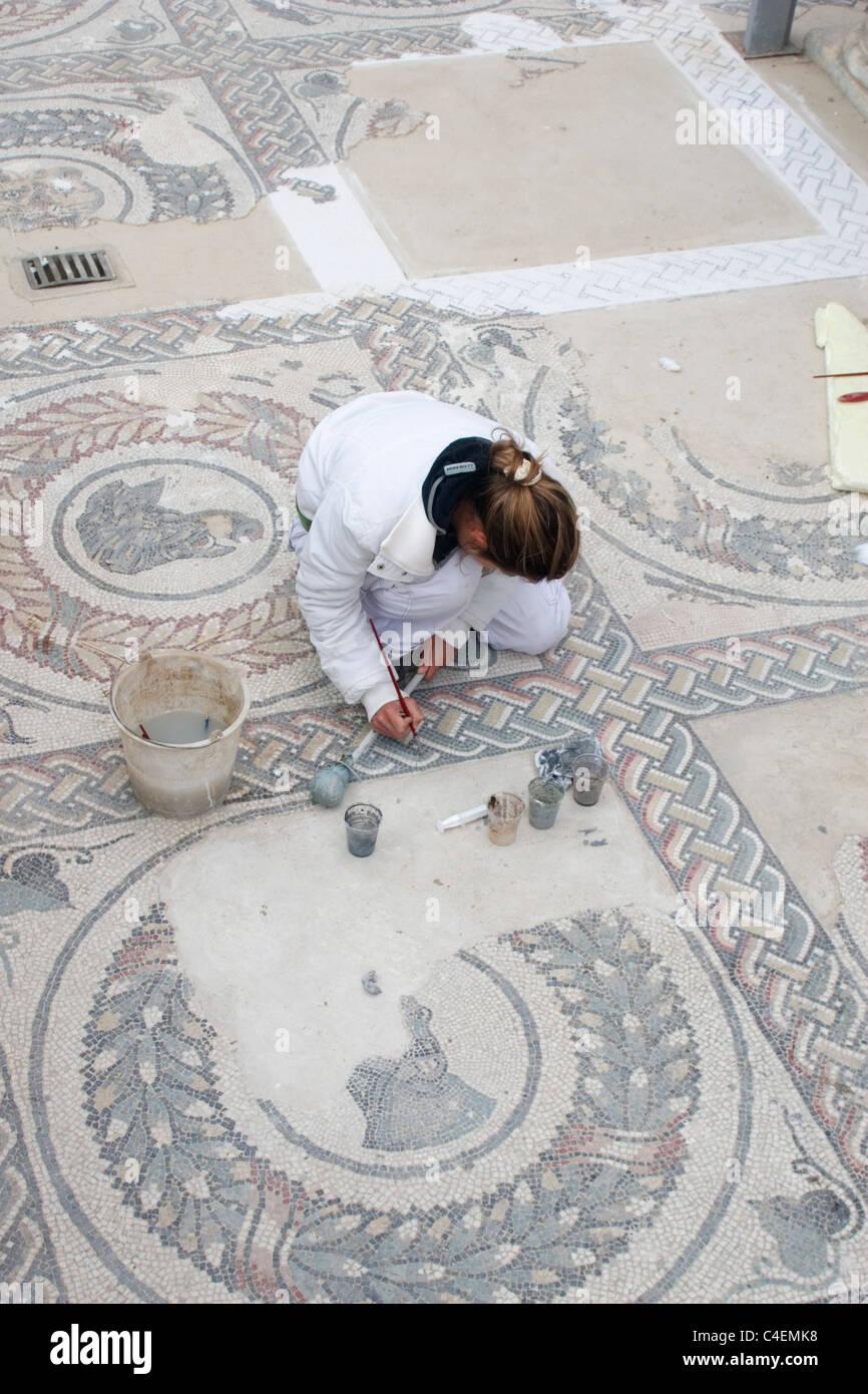 Art restorer works on 4th centuryAD Roman mosaics in the Imperial Villa of Casale (Villa Imperiale del Casale).Piazza - Stock Image