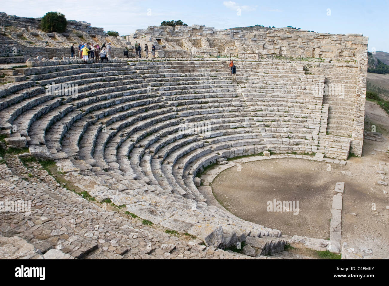 Greek theater built in the 3rd centruryBC during the Hellenistic period as a perfect semi-circle.Segaste, Sicily, Stock Photo