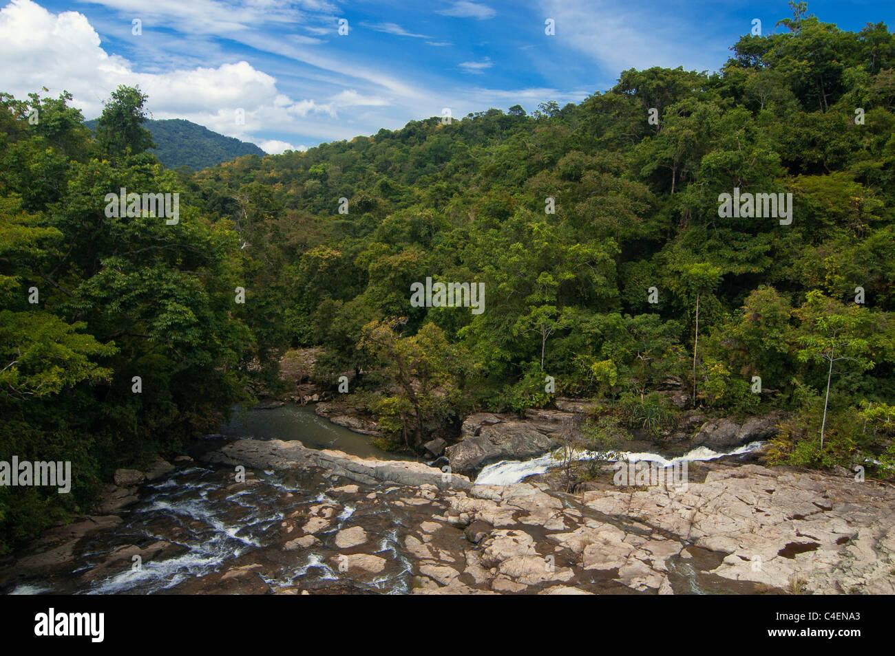 Aik Beling River and Rain Forest at Brang Rea, Sumbawa - Stock Image