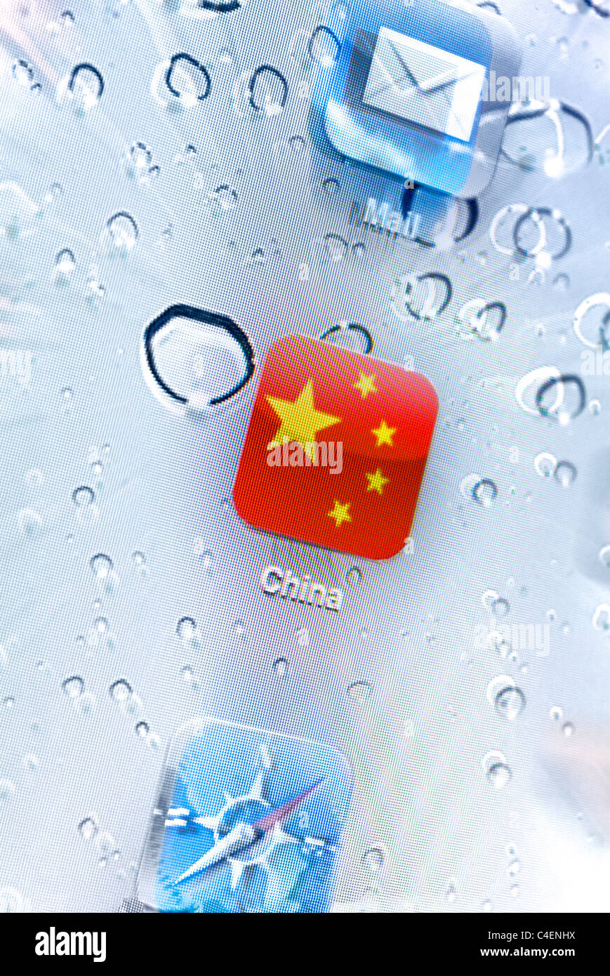 Chinese flag app icon on screen. - Stock Image