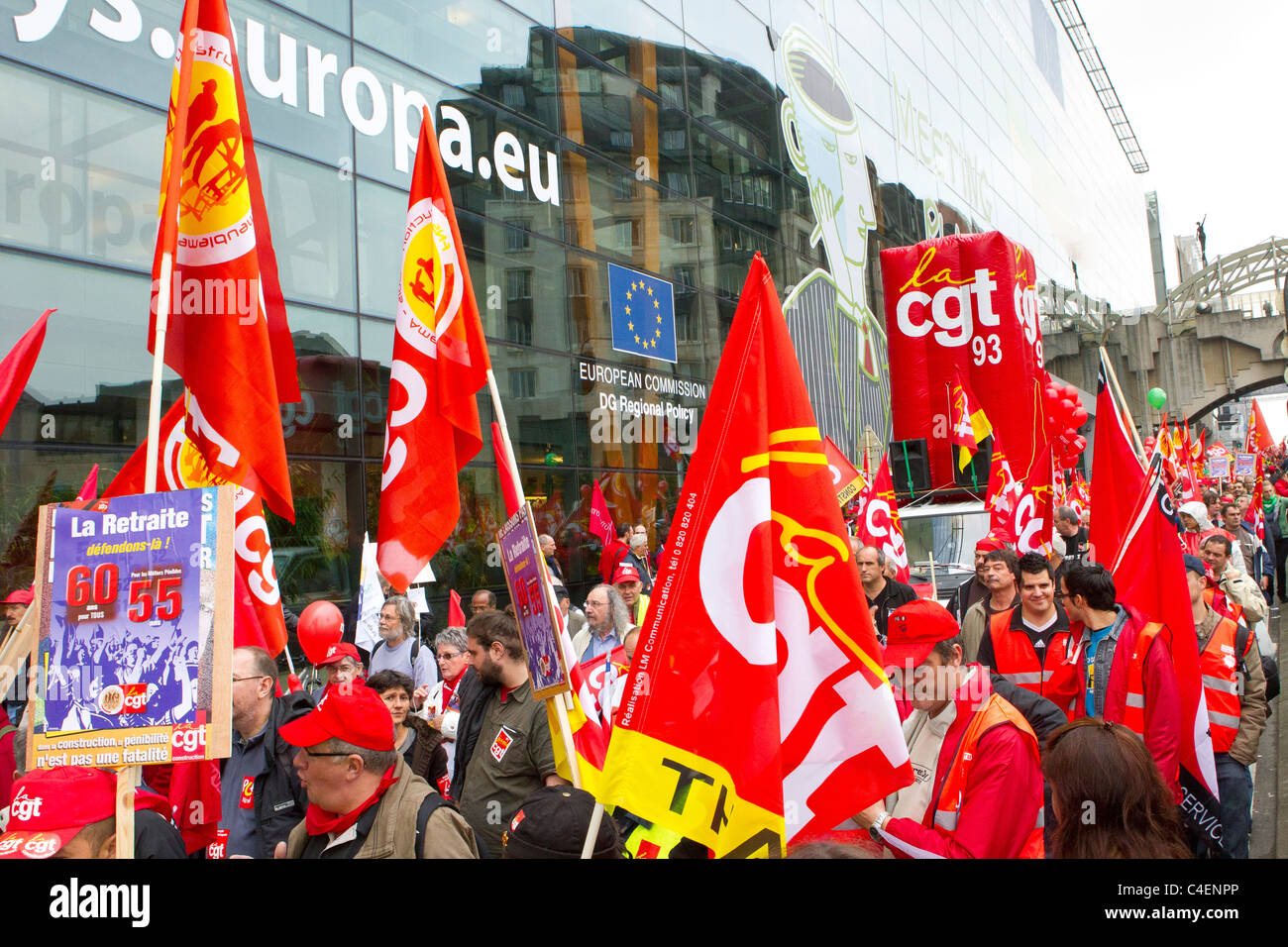 transport unions protest march at european commission brussels belgium - Stock Image