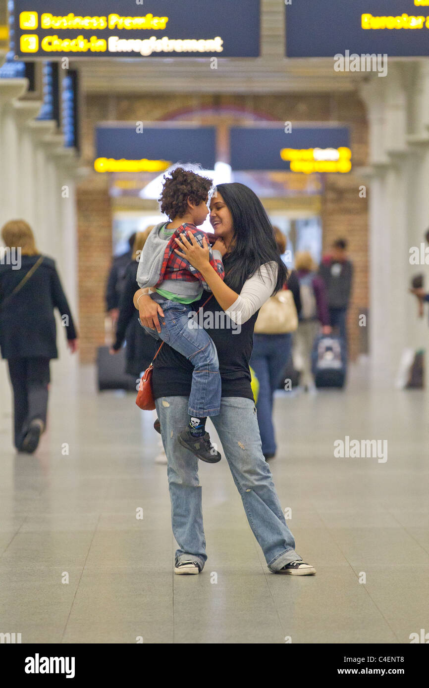 woman and boy - Stock Image