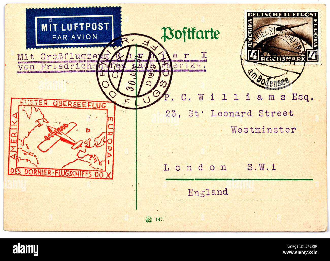 A vintage postcard sent to the addressee in England on the first German Dornier flight Dated 30.1.31 - Stock Image
