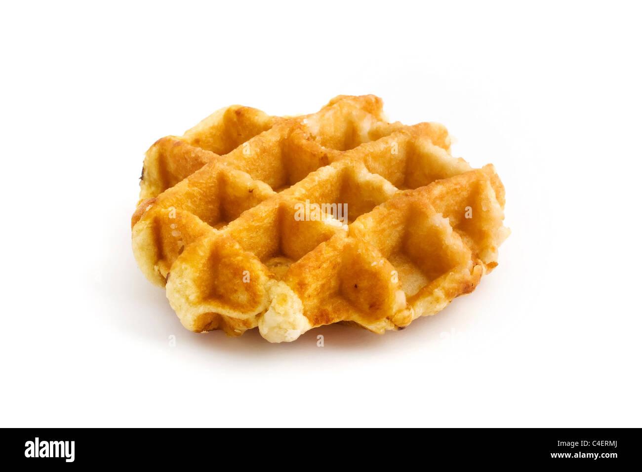 Home made fresh waffle isolated on white - Stock Image