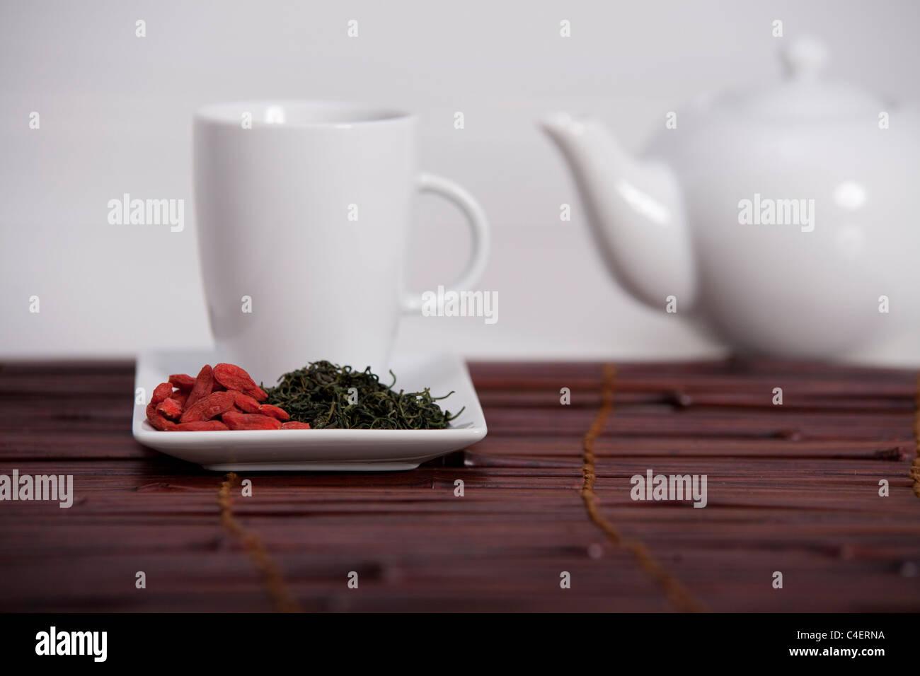 simple presentation for goji fresh antioxidant tea - Stock Image