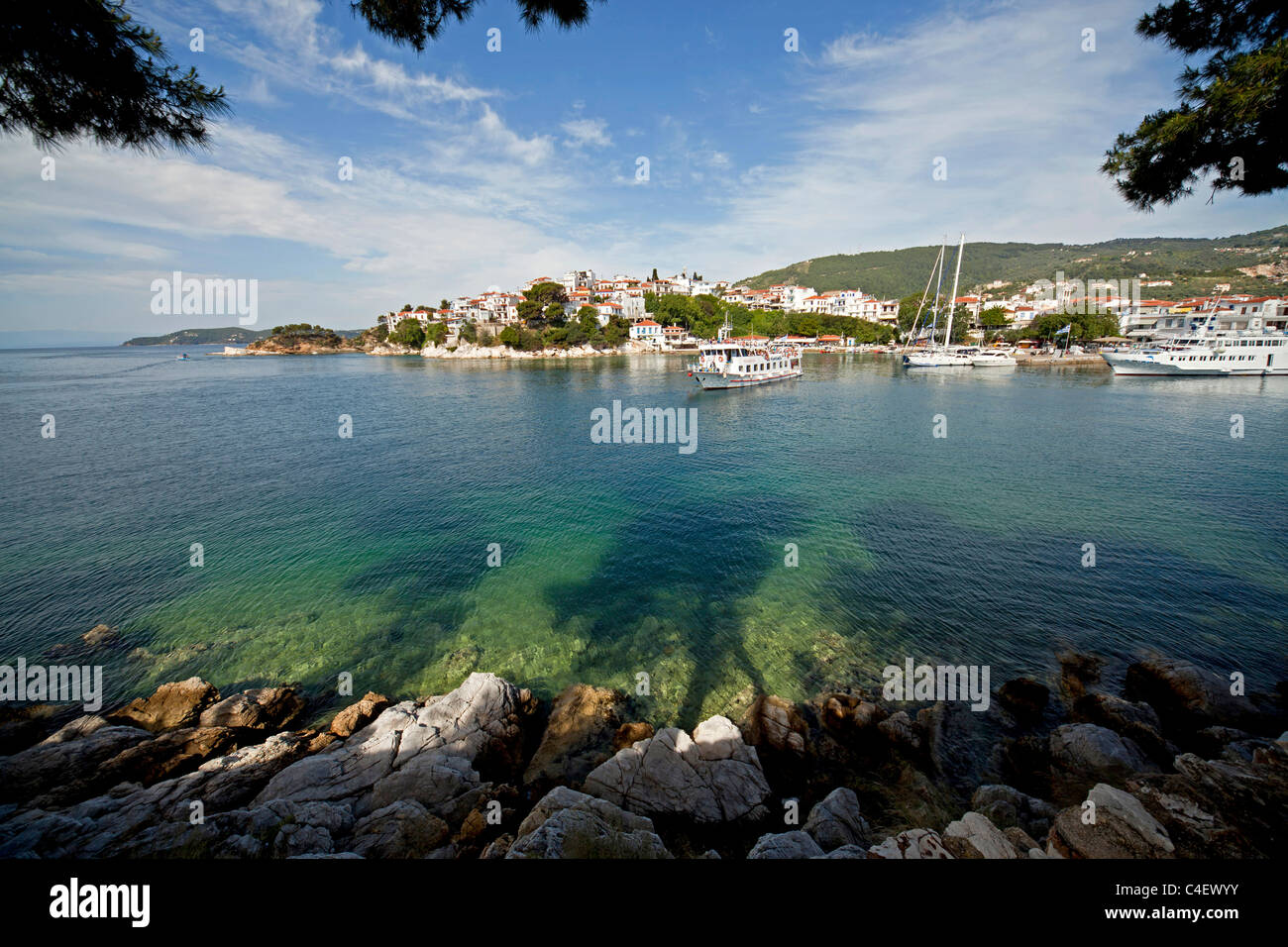 boats at the old harbour of Skiathos Town on Skiathos Island, Northern Sporades, Greece Stock Photo