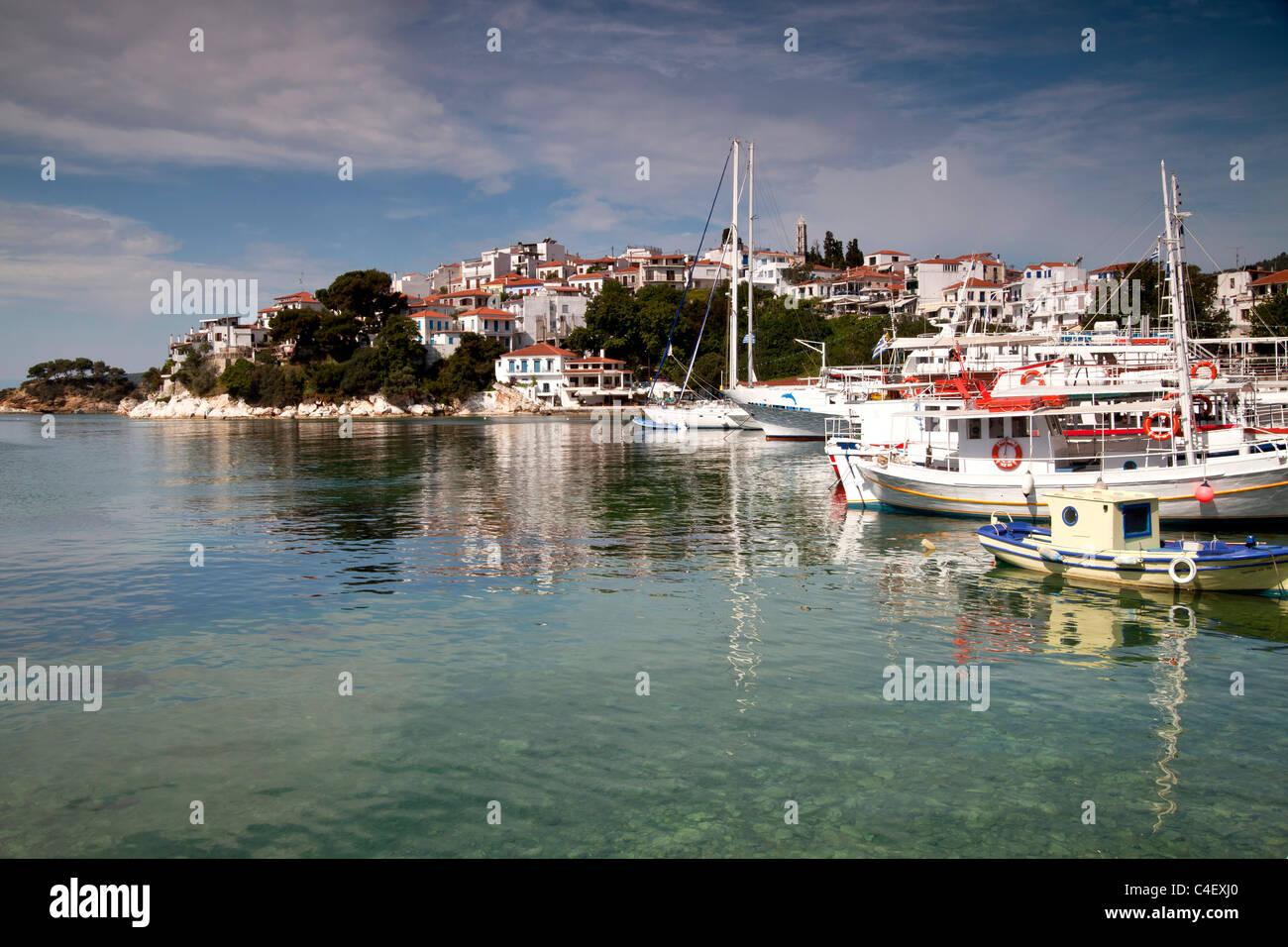 cityscape and old harbour Skiathos Town on Skiathos Island, Northern Sporades, Greece Stock Photo