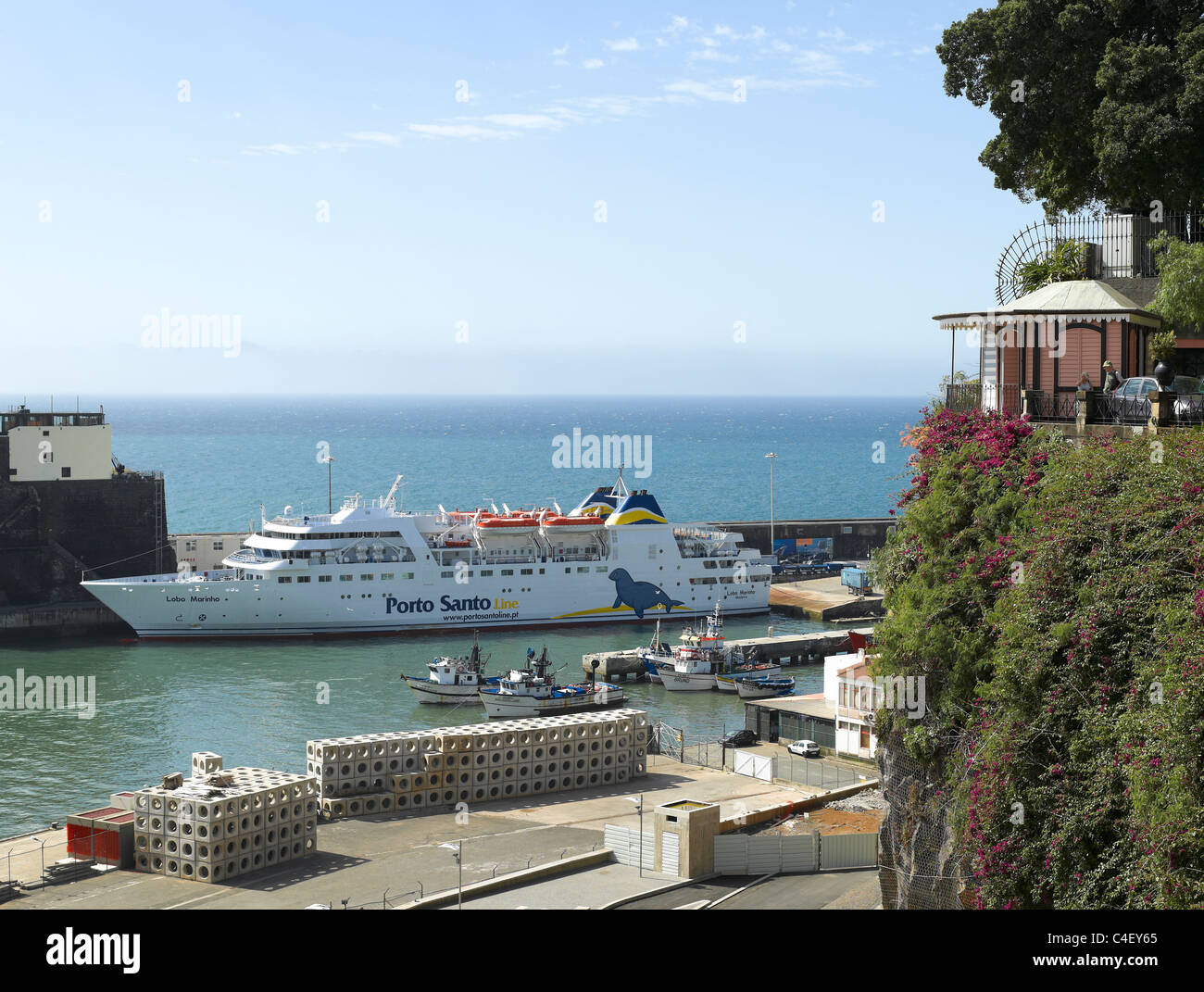 Porto Santo Ferry in Funchal harbour Funchal Madeira Portugal EU Europe Stock Photo
