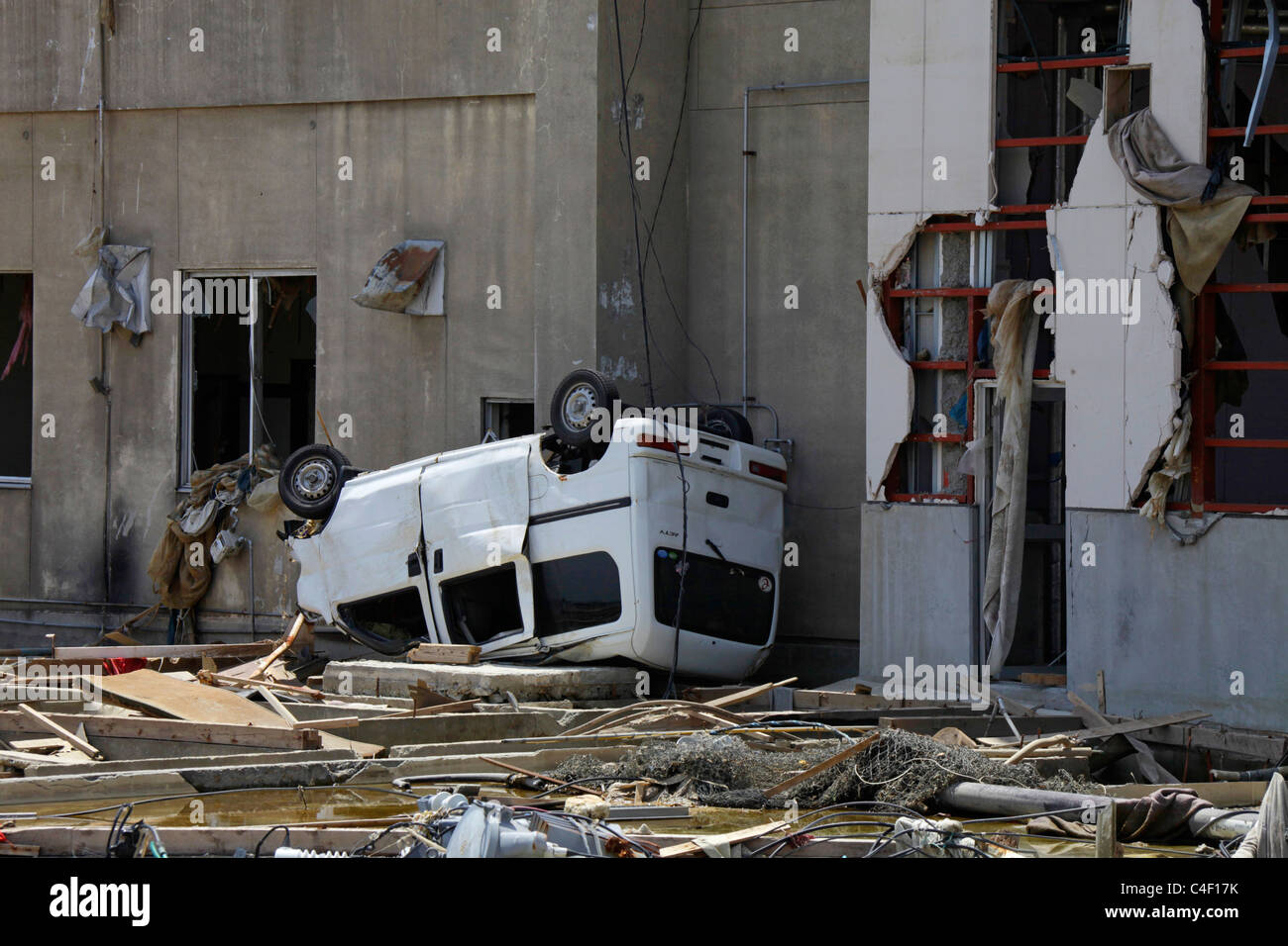 A motor car destroyed by Tsunami 11th March 2011 - Stock Image