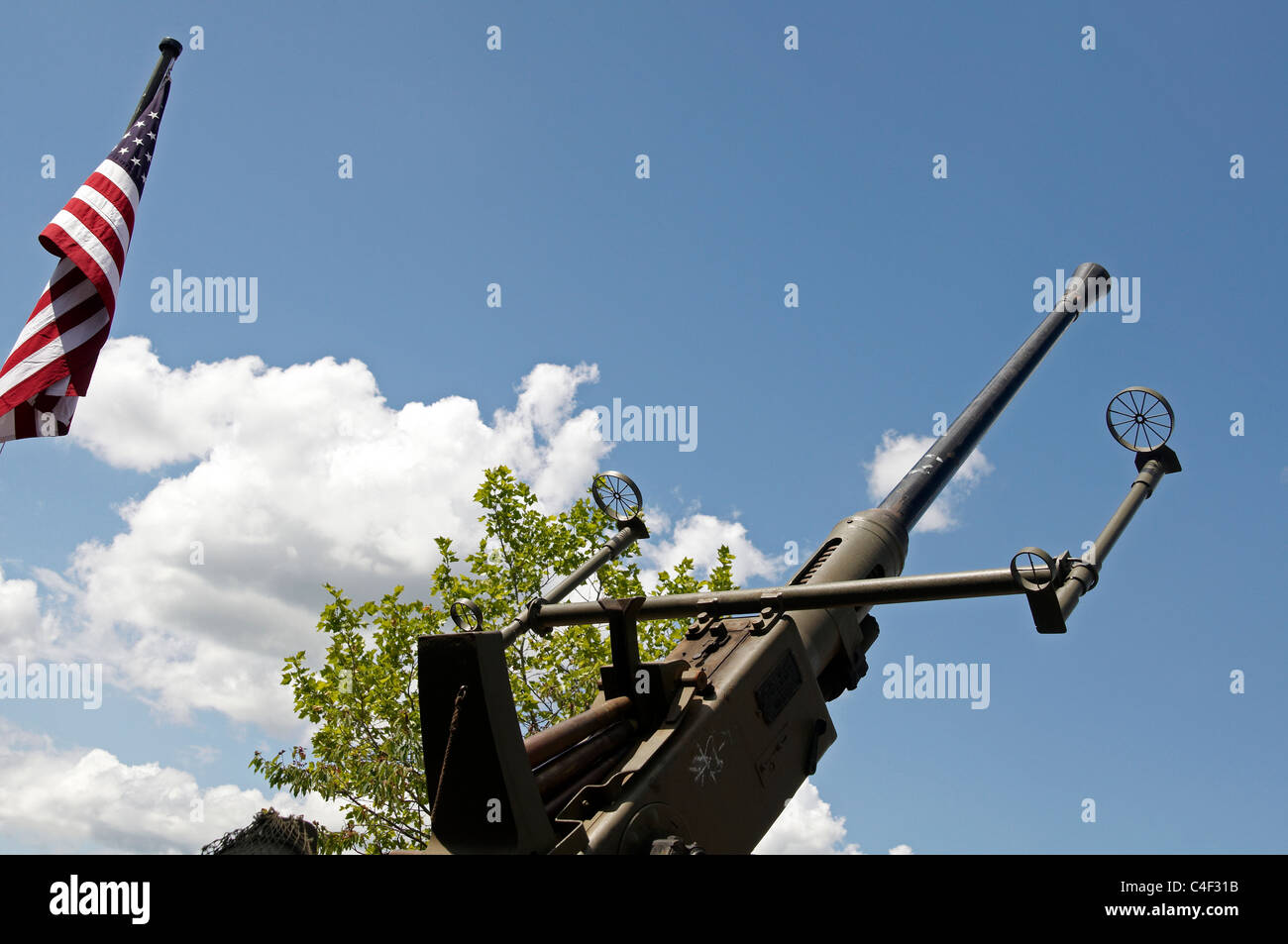 World War Two anti-aircraft gun or ack-ack gun on display at a WW2 re-enactment. - Stock Image