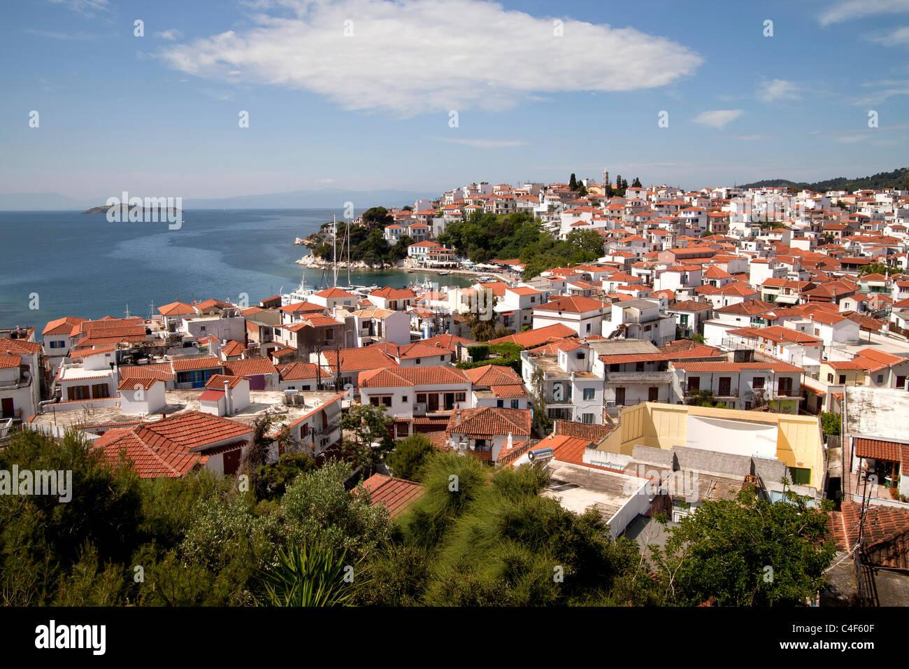cityscape Skiathos Town on Skiathos Island, Northern Sporades, Greece Stock Photo