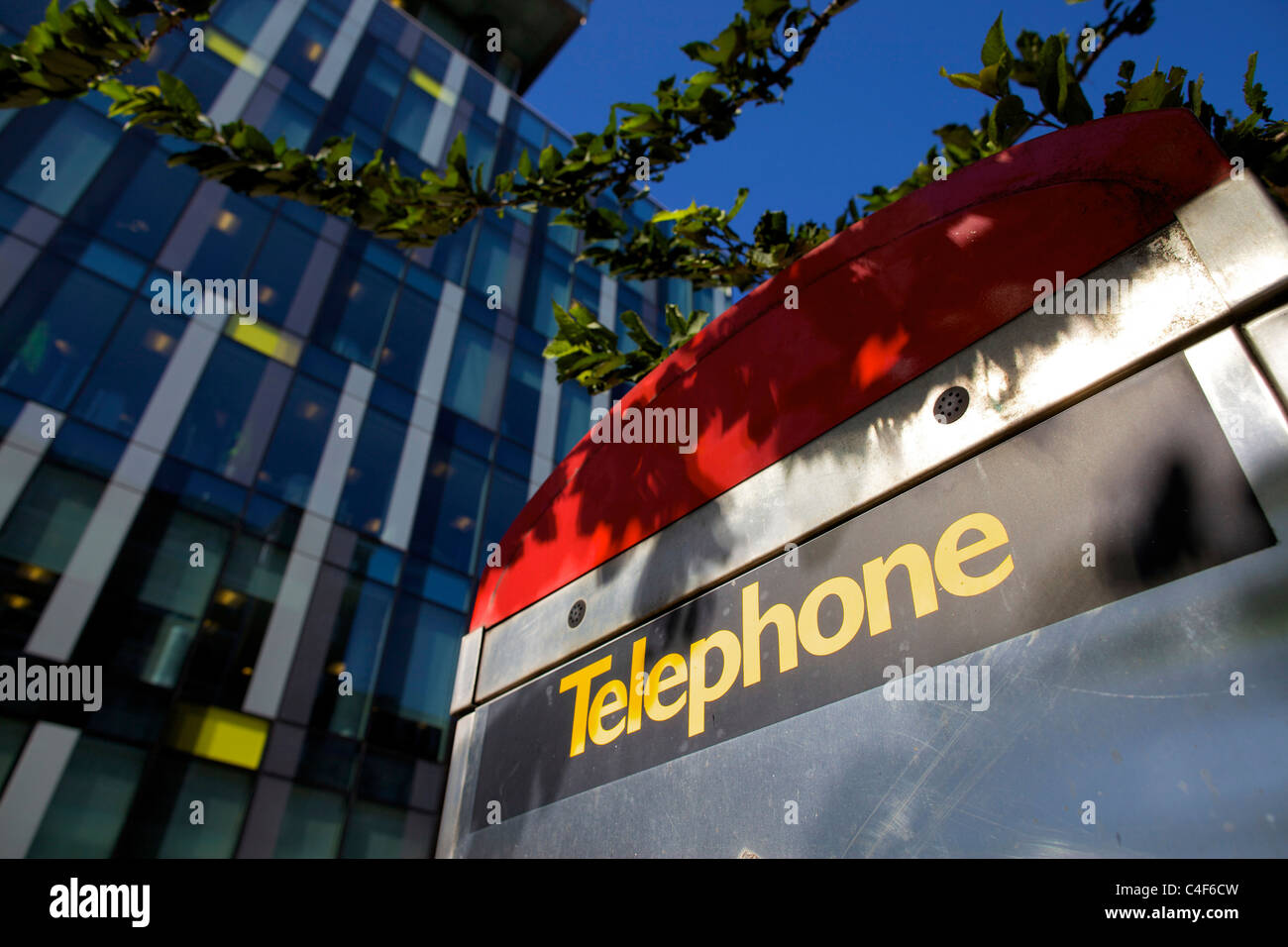 Payphone box in London UK - Stock Image