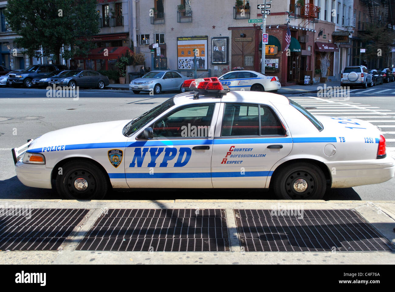 A New York Police car on the street. Stock Photo