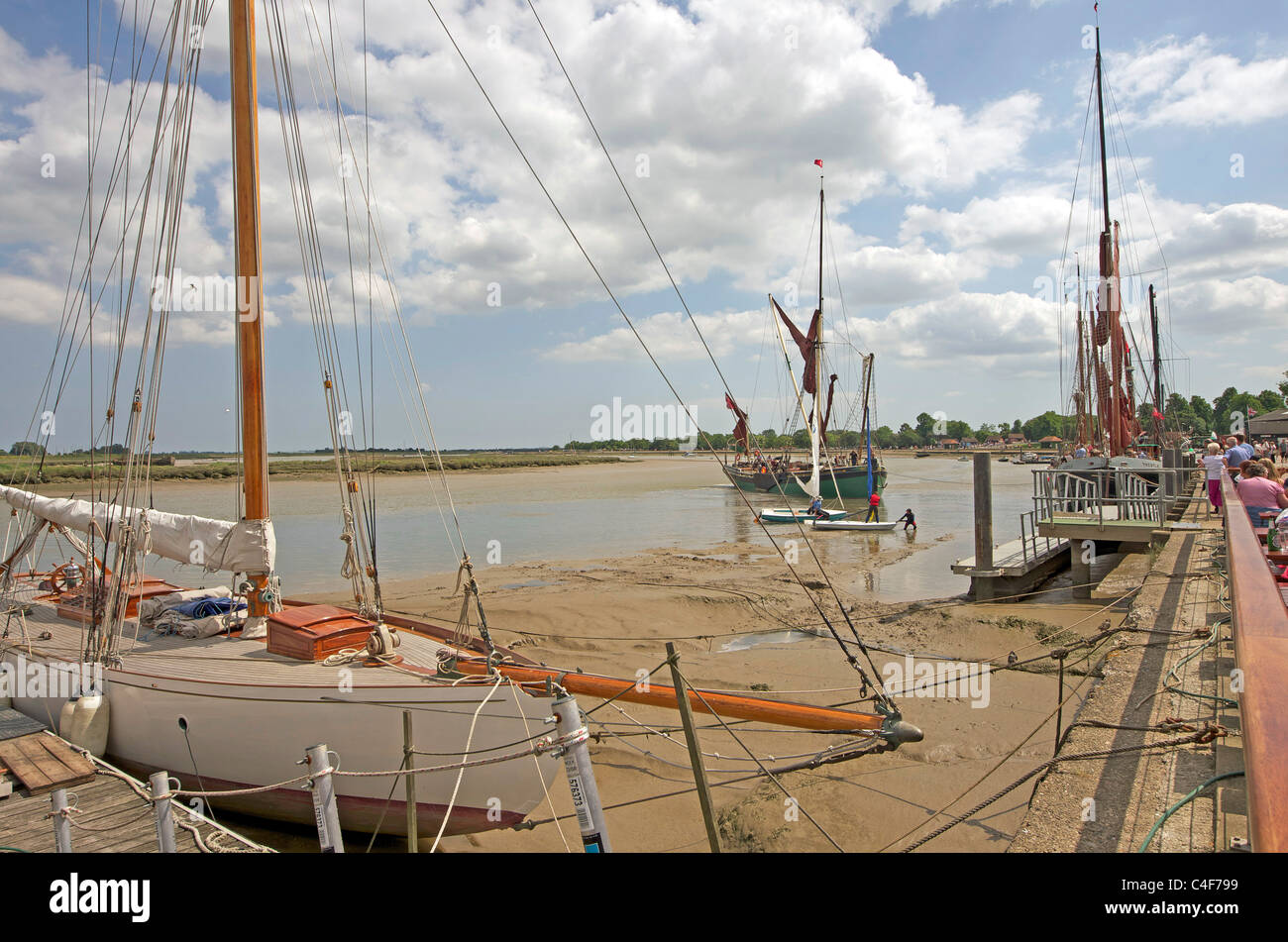 Boats on the Blackwater riverside at the Essex town of Malden - Stock Image