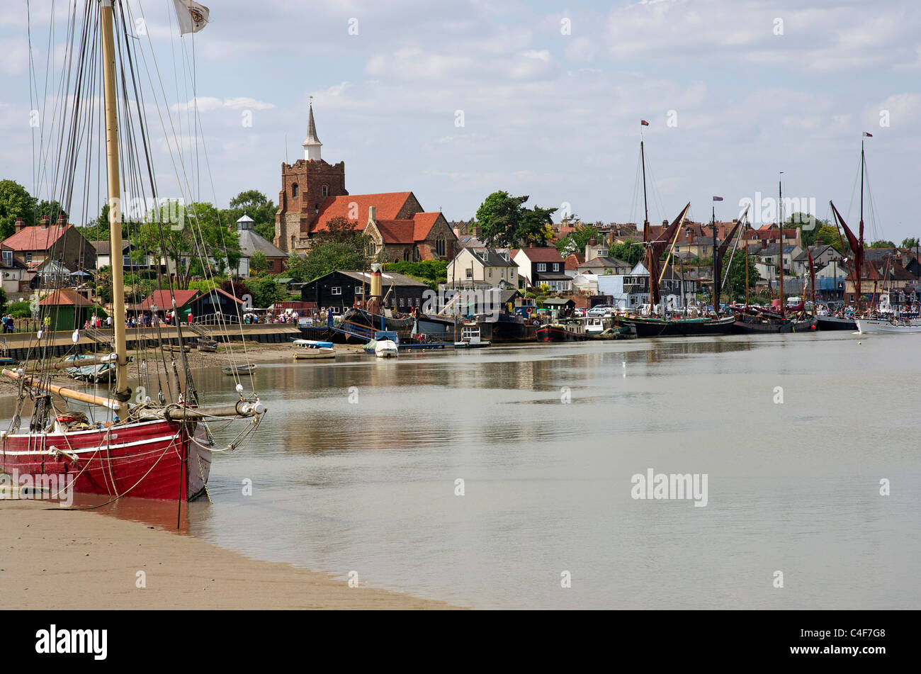 Boats on the Blackwater with the Essex town of Malden behind - Stock Image