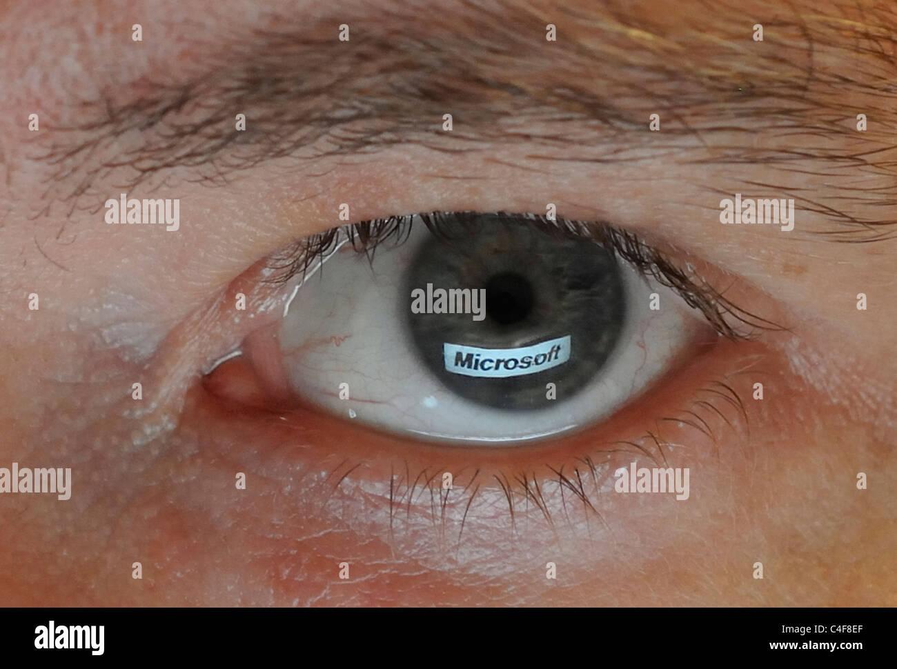 Company Logo mirrored in Eye Stock Photo