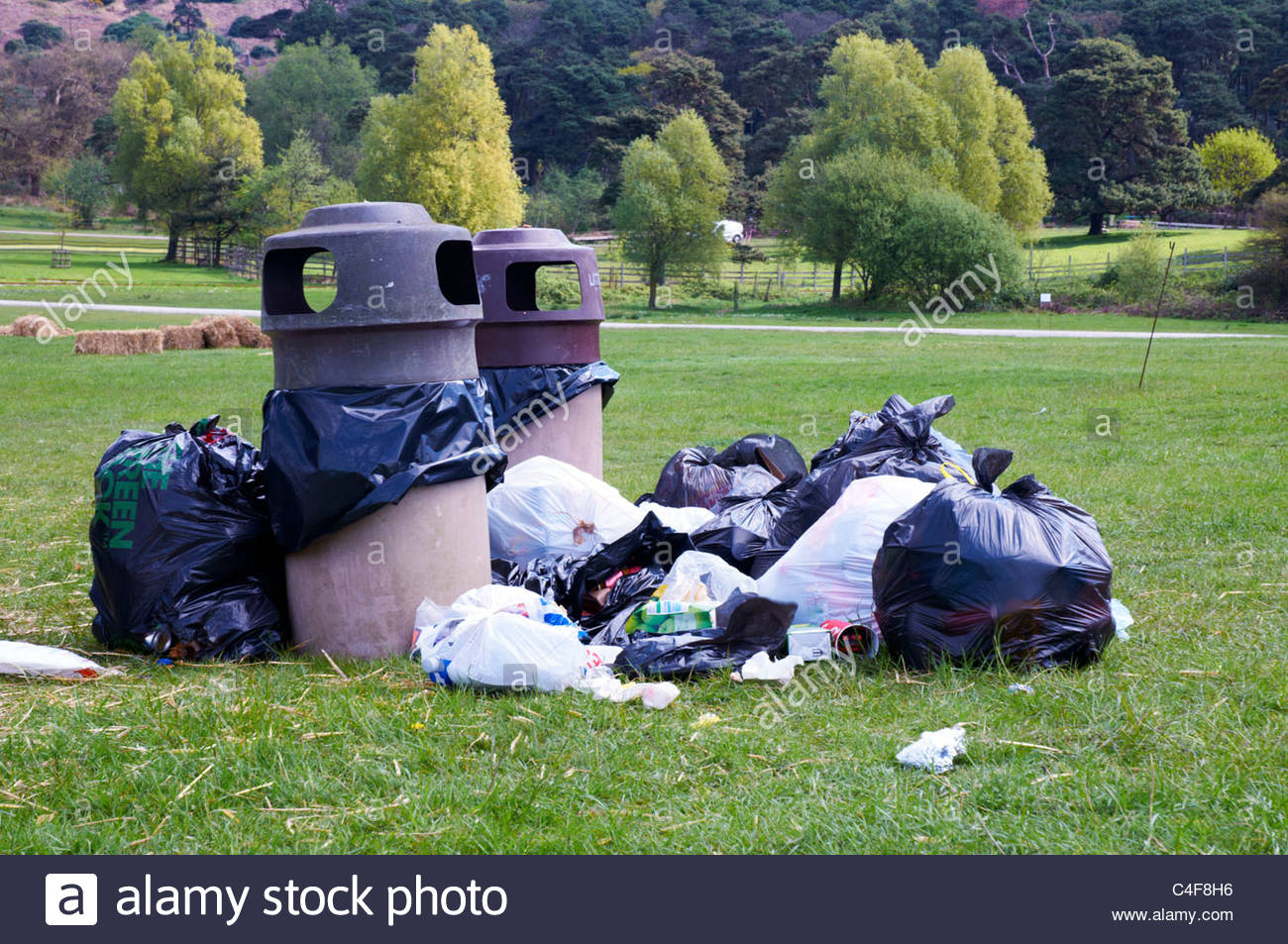 a pile of black plastic rubbish bags and two rubbish bins awaiting refuge collection in a country park - Stock Image
