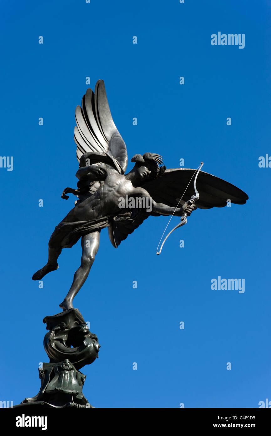 Eros statue, Piccadilly, London, UK - Stock Image