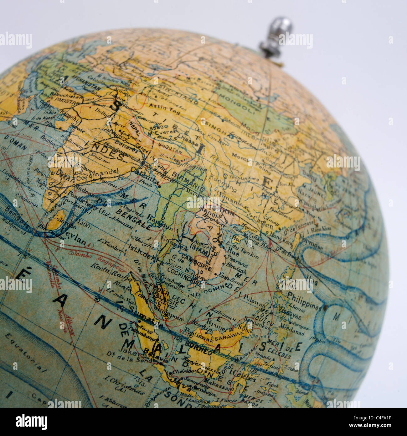 Close up of old-fashioned globe. - Stock Image