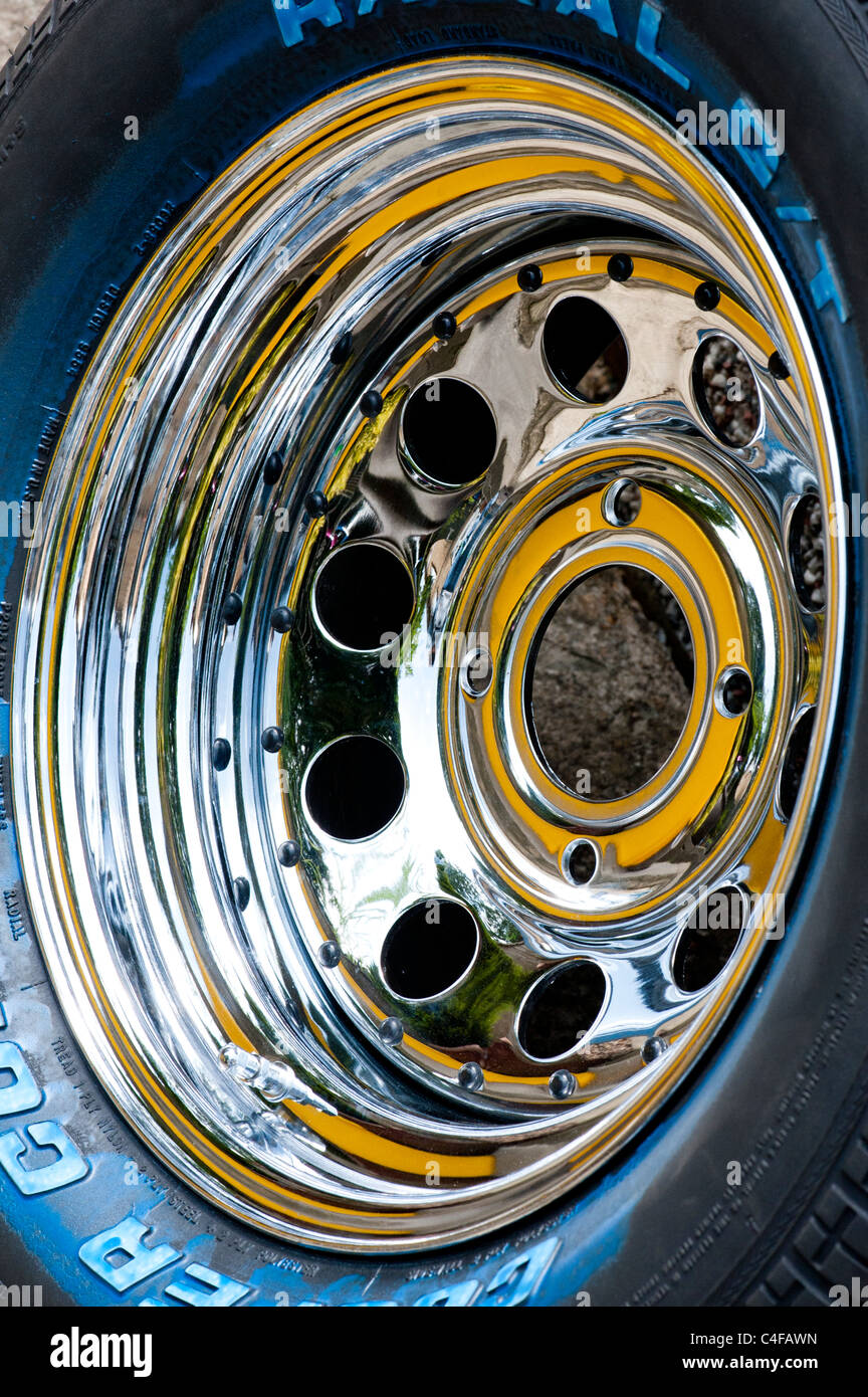 Custom car chrome wheel - Stock Image