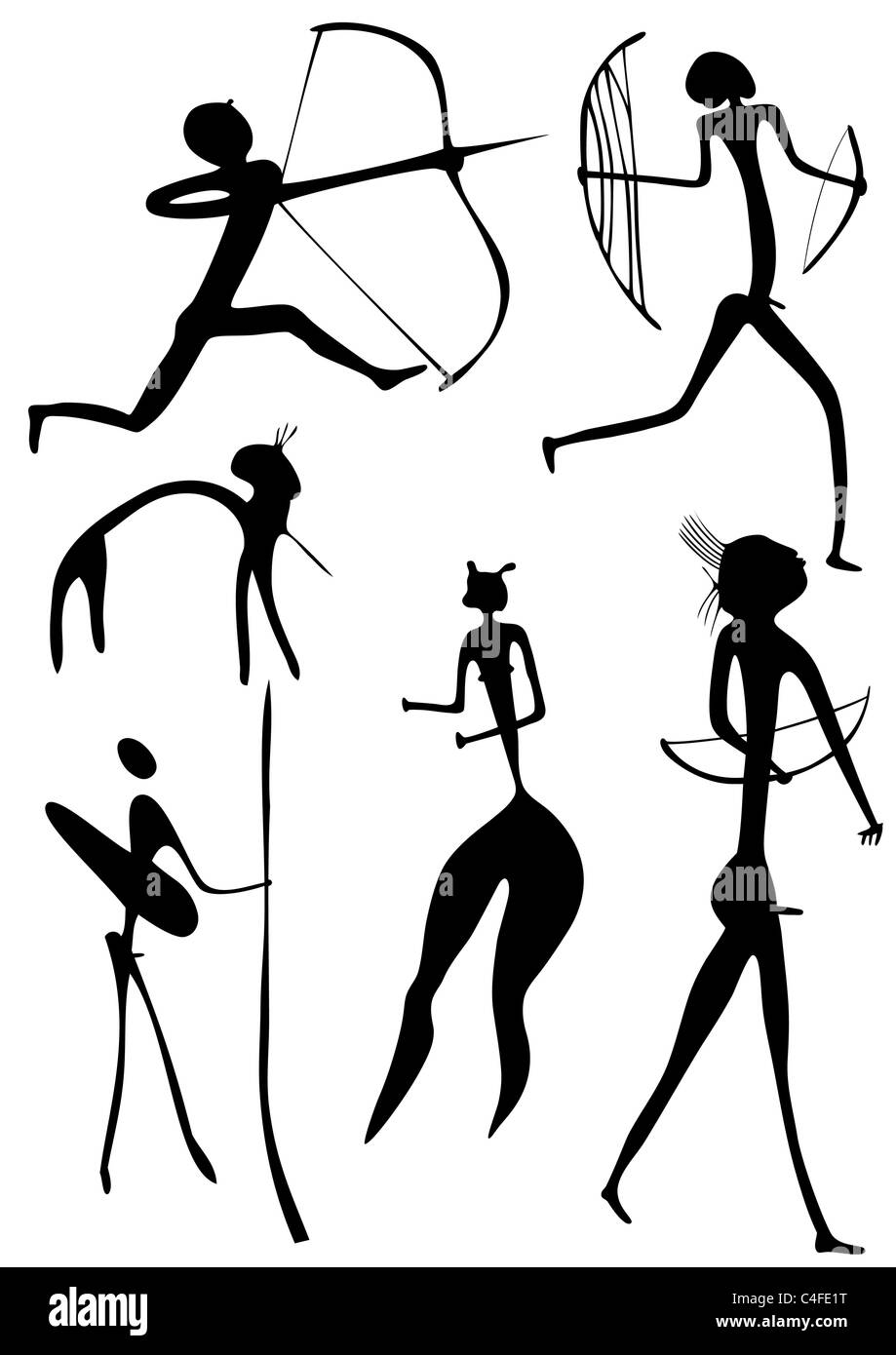 Primitive figures looks like cave painting - primitive art - warriors Stock Photo