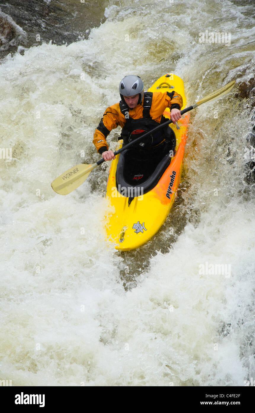 Kayaker Callum Anderson on the Lower Falls, Glen Nevis, near Fort William, Scotland Stock Photo