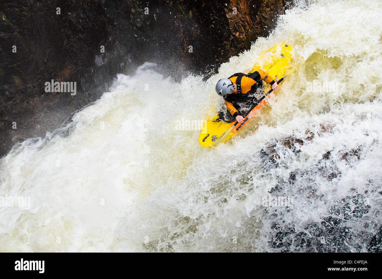 Kayaker Callum Anderson on the Lower Falls, Glen Nevis, near Fort William, Scotland Stock Photo