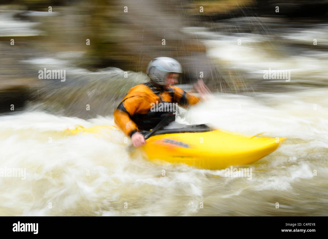 Kayaker Callum Anderson on the  River Nevis, near Fort William, Scotland Stock Photo