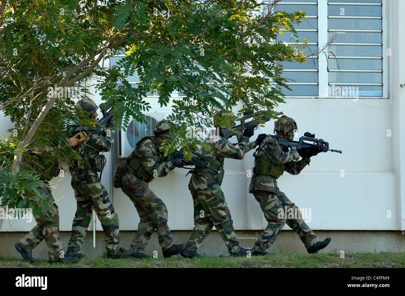 Show of French forces paratroopers in La Reunion Stock Photo